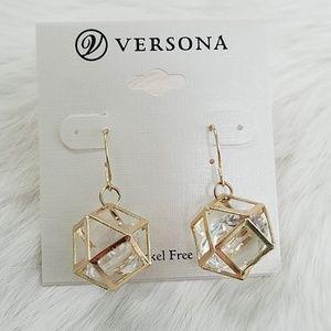 Gold Geometric Prism Crystal Earrings